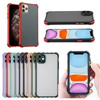 Matte Clear Hard PC Phone Cases Double color skin soft edge airbag frosted anti-fall silicone mobile case for iPhone13 12 11 Pro Max XR XS 8 Plus A72 5G A51 A71