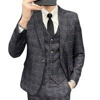 Men's Suits & Blazers ( Blazer + Vest Pants ) Groom Wedding Dress Mens Plaid Business Suit 3 Pce Sets Show Party Social Male Stage