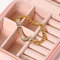 Link, Chain Shiny Diamond Bracelets For Women 18K Gold Link Bangles Fine Jewelry Wedding Bracelet Party Accessories Bangle Female
