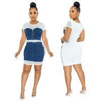 Casual Women Fashion Denim Patchwork Dresses Best Selling High Waist Bodycon Zipper Short Sleeve Lady Mini Dress Autumn 2021