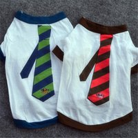 British Style Dog T-shirt Cotton Shirt With Green Red Tie White Vest Outdoor Clothes Apparel Coat Puppy Jacket 2021