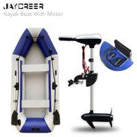 Jaycreer Kayak Canoe مع محرك خارجي، قارب قابل للنفخ، طبعات الصيد / قوارب نفخ