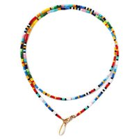 متعدد الطبقات الأزياء البوهيمي نمط العرقية اليدوية للتعديل حبة المختنق بذور قلادة قلادة النساء سلاسل مجوهرات