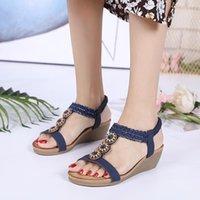 Sandales Femmes Sandales Perles en bois Perceuse à eau Bohême Pu Cheaux Chaussures pour Sandale d'été respirante couleur solide