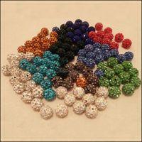 Perline Caps Risultatori di gioielli Componenti JewelryDesigner Crystal 8mm 10mm 12mm sfera allentato palla a mano perline fl trapano argilla morbida y + strass wh