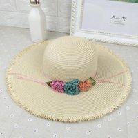 Wide Brim Hats 2021 Summer Women's Sun Hat Bucket Cap Beige Lace Bowknot Flowers Ribbon Straw Beach Caps Panama Sombreros De Playa