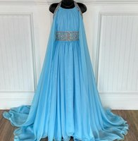 Sky-Blue Pageant Dresses for Infant Toddlers Teens 2021 with Cape ritzee roise A-Line Chiffon Long Little Girl Formal Party Gowns Zipper Back Beading Crystals
