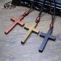 Христос Иисус Деревянные Кресты Красный Черный Деревянный Крест Подвеска Тканые Веревочные Цепи Ожерелье Религиозные Православные Моляющие Ювелирные Изделия Ожерелья
