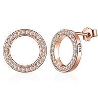 Wostu الأزياء الساخنة 100٪ 925 فضة محظوظ للأبد دائري أقراط للنساء أصيلة المجوهرات الأصلية هدية 984 T2