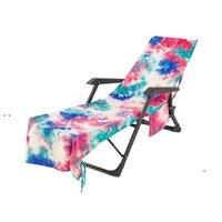 Newtie-Dye Strand-Stuhlabdeckung mit Seitentasche Bunte Chaisel-Lounge Handtuchabdeckungen Sun-Lounger Sonnenbaden Garten Wasseraufnahme EWE7571