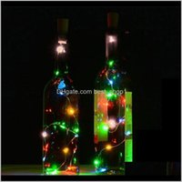Other Event Festive Home & Garden10 8 Solar Wine Bottle Stopper Copper Glow Party Supplies Cork Shaped String Led Night Fairy Light Drop Del