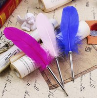 Fashion Feather Quill Ballpoint Pen 14colors Pens For Wedding Gift Office School Writing Supplie