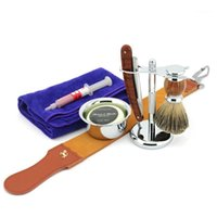 Men Shaving Set Straight Razor Folding Cut Throat Knife Sharpening Strop Badger Hair Brush Stand Holder Soap Bowl Mug1