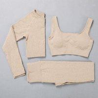 3 stück frauen leggings set gerippt nahtlose yoga sets frauen gym wohnung sport anzug sportswear langarm top rosa gym set1