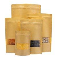 10 pz / lotto Kraft Bag Bag Window Vuoto Frutta secca fruita Regalo del tè Pacchetto Self sigillatura Zipper Stand Up Bags Wrap