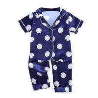 الخريف الطفل الحرير منامة الاطفال الفتيات الفتيان منامة الملابس نقطة طباعة النوم مجموعة قصيرة الأكمام بلوزة قمم + السراويل 2 قطع البيجامات 210915
