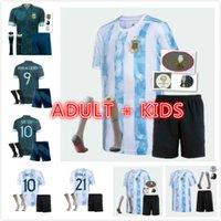 Adultos Kit Kit + Socks 21/22 Argentina Futebol Jerseys 2021 Copa Messi Dybala Kun Aguero Lo Celso Martinez TagliaFico Jersey Camisa de futebol