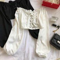 Women's Blouses & Shirts Womens Off Shoulder Top Long Sleeve Ruffle Vintage Blouse With Puff Sleeves Lace Up Ladies Tops Bandage Crop Black