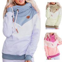 Women's Hoodies & Sweatshirts Women Casual Patchwork Thick Female Basic Drawstring Harajuku Autumn Winter Warm Pullovers Tops