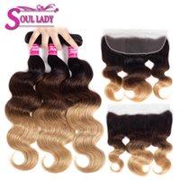 Human Hair Bulks Ombre Bundles With Frontal T1b 4 27 Brazilian Body Wave Non Remy 100%