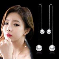 Párrafo largo Tassel Pearl Ear Lecho Hipoalergénico Coreano Moda Joyería Plata Fabricantes, Pendientes al por mayor Fungus Blanco