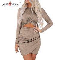 Повседневные платья Seowchel Khaki / серый / черный с длинным рукавом вырезание жевательная женщина Ruched Bodycon мини-платье женский твердый тонкий короткий XL