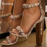 Sandals Rxemzg Summer Women Black Cover Heel Fashion Snake Print High Heels Round Toe Sexy Stiletto Ladies Pumps Shoes