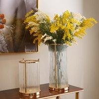 Vases European Luxury Flower Arrangement Glass Vase Ornaments Metal Base Striped Transparent Living Room Home Decoration