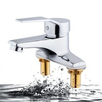 Bathroom Sink Faucets Copper Double Hole Installation Wash Basin Faucet And Cold Water Mixer Single Handle Tap