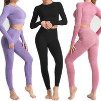 Mulheres Manga Longa Yoga Set Fitness Sports Sports Gym Roupas Alto Cintura Leggings Sem Emenda Workout Sportswear Yoga Outfits NT007Soccer Jersey