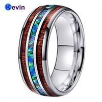Wedding Rings Men Women Bands Tungsten Ring Abalone Shell And Koa Wood Inlay Domed Shape Polished Shiny Width 8MM Comfort Fit