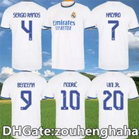 Real Madrid Futebol Jersey Benzema Camiseta Hombre Primera Equipación Blanca 2021 22 Hazard Asensio Casemiro Sergio Ramos Camisa de Futebol Tamanho S-4XL