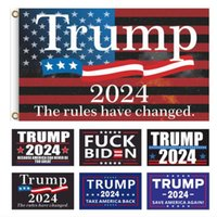 3x5FT Full size Metal Circle Trump 2024 Flag President Banner Anti Joe Never BIDEN Flags Donald Funny Garden Campaign BANTERA MAGA KAG Republican 90*150cm G31201
