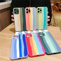 rainbow phone Cases Camera Protect Shockproof for iPhone 12 Mini 11 Pro X XS Max XR case Silicone glass CellPhone Cover
