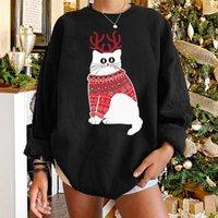 여성용 후드 스웨터 Seeyoushy 크리스마스 선물 드롭 어깨 여성 Kawaii 고양이 인쇄 Crewneck 긴 소매 Sudaderas 탑 겨울 펄