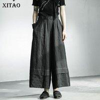 Pantalones para mujer Capris Xitao Ropa de rosa floral Ropa de cuerpo completo Mujeres 2021 Verano Casual Estilo de moda Minoría Mid Cintura ancha Pierna ZP1235
