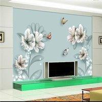 Обои минималистские бабочки цветы мода телевизор настенные профессиональные производителя обои роспись настроить PO