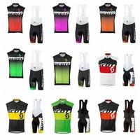 2019 프로 사이클링 팀 Ropa Ciclismo 팀 Scott Cycling 저지 세트 프로 라이딩 자전거 민소매 유니폼 턱받이 반바지 자전거 정장 K032201