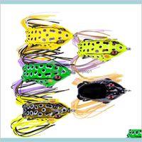Popper Lifelike Frog Soft Lure Blackfish Fishing Crankbaits 8.5G 5.2Cm 3D Eyes Freshwater Floating Rubber Baits Hndzn Hmkkr