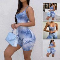 Frauen Sexy Sommer Bodysuit Stretch Romper Krawatte Farbstoff Top Slim Fit Casual Plain Overall Shorts Sling Fitness Trainingsanzüge Set