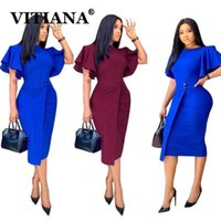 Casual Dresses VITIANA Women Office Pencil Dress For Womens Sumemr 2021 Female Blue Butterfly Sleeve Midi Woman Wine OL Vestidos