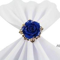 아름 다운 장미 꽃 냅킨 링 골드 컬러 농구 낭만적 인 니스 찾고 잡초 테이블 장식 용품 DWD7108