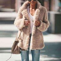 Designer Patchwork Winter Lamb Coats Turn Down Collar Thick Warm Jacket Coat Womens Open Stitch Outerwear