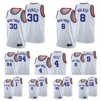 "New York ""Knicks"" Männer Julius Randle Derrick Rose Kemba Walker Evan Fournier RJ Barrett Quentin Grimes 75th Jubiläum Weiß Basketball Jersey"
