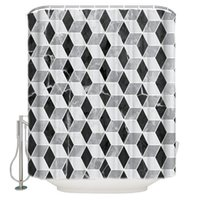 Занавески для душевые черные и серые геометрические мраморные узоры ванной ванны занавес для ванной комнаты детские кольца крючки