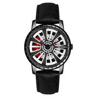 Relógio para homens quartzo relógios de pulso de couro cinta prata prata azul redondo carro pneus forma dial de vidro temperado