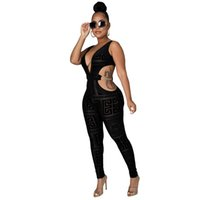 European and American Amazon women's jumpsuits rompers new camisole deep V-neck sexy mesh printed skinny jumpsuit