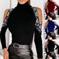 Lugentolo Sexy с длинным рукавом Женщина футболки сплошной цветной рубашки с плечом.