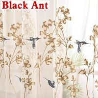 Curtain & Drapes Nordic Fashion Bird For Living Room Net Natural Fabric Sheer Bedroom Soft Voile Mesh Drape X688#40