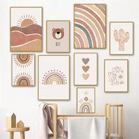 Paintings Cactus Rainbow Heart Abstract Wall Art Painting Nursery Canvas Print Alpaca Bear SunBoho Pictures Baby Room Decor Poster